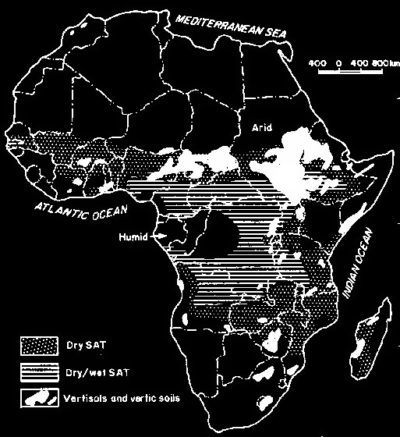 Distribution of black cotton soil in Africa with climatic zones